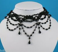 Black Vamp Gothic  Bead Drop Burlesque Moulin  Party Chain Link Choker Necklace