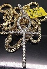 "1.97 CT Diamond 10K Yellow Gold Ankh Charm Pendent And 10K Yellow Gold 26"" Chain"