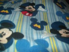 Blue striped Mickey Mouse baby toddler fleece 36x29   blanket free personalized