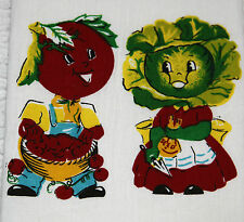 Retro Vintage Style Cotton Flour Sack 50's Kitchen Towels w/'Mr & Mrs. Veggie'