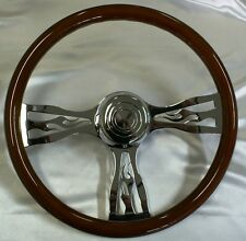 3 spoke FLAMES steering wheel. Freightliner,Kenworth,Mack,Westernstar,Eagle