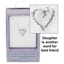 'Daughter ...best friend' Boxed Silver Plated Sentiment heart necklace
