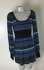 Free People  Sweater Knit Dress Medium Womens Purple Stripe Bodycon Long Sleeve