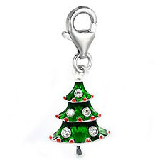 Clip-on Christmas Tree Dangle Charm Pendant for European Clip on Charm Jewelry w