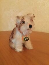 FABULOUS VINTAGE STEIFF MOLLY DOG PUPPY MINT 1950's SCRIPT BUTTON AND PAPER TAG