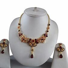 RED GOLD INDIAN COSTUME JEWELLERY NECKLACE EARRINGS DIAMOND RAINBOW SET BRIDAL