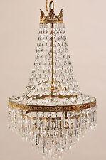 Lampadario gocce di cristallo a mongolfiera Stile Impero anni '40