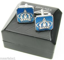 MEN CUFFLINKS SILVER QUEEN KING CROWN PARTY WEDDING CUFF LINKS XMAS GIFT BNIBUK