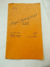 The Royal British Hotel, Perth Vintage 32 Paged Brochure Includes Prices etc...