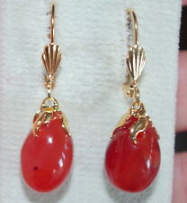ANTIQUE OLD STOCK  14K GOLD FILLED CARNELIAN TEAR DROP  LEVER BACK  EARRINGS