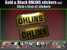 2x Ohlins BLACK & GOLD Decals Stickers Suspension, Bike, Shock, motorcycle V2