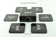 6 Handmade Coasters, Lacquered & Inlaid Square Wooden Cork With Box, Black C003