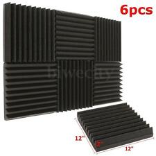 "6Pcs Acoustic Foam Wedge Tiles Studio Sound Proofing Wall Panels 12"" 300x300mm"