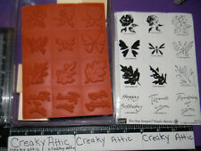 STAMPIN UP SIMPLE SKETCHES 12 RUBBER STAMPS OAK LEAF ROSES BUTTERFLY BIRTHDAY