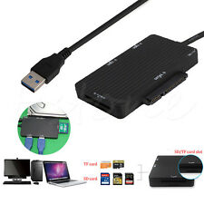 USB 3.0 to SATA 3.0 III SD TF Micro SD 5.0Gbps HUB Adapter Card Reader HDD SSD