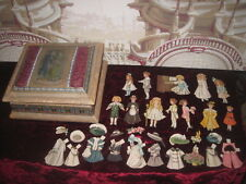 SPECIAL SALE! CHARMING ANTIQUE PAPER DOLLS IN HAND PAINTED SILK PRESENTATION BOX