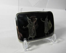 Vintage Solid Sterling Silver Black Nielloware Exotic Siam Belt Buckle 21.6 Gram