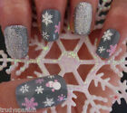 Christmas Nail Art Stickers Decals White Pink Snowflakes Snowman Glitter