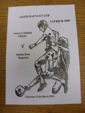27/03/2014 DOMENICA Sutton LEAGUE ADAM Dauncey Cup Final: Sutton Coldfield athleti