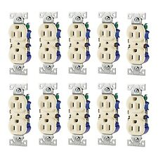 10x 125-Volt 15-Amp Almond Beige Cream Electrical Duplex Receptacle Outlet-Plug