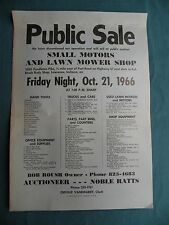 Cool 1966 AUCTION Flyer Poster Lawrence Indiana Noble Ratts Auctioneer Sale Bill