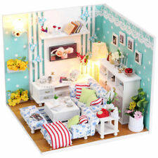 New Kits DIY Wood Dollhouse miniature with LED+Furniture+cover Doll house room 2