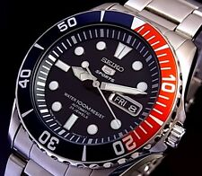 NEW MEN'S 100M SEIKO SEA URCHIN 23 JEWEL AUTOMATIC PEPSI BEZEL WATCH SNZF15J1