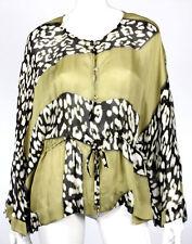 ROBERTO CAVALLI Olive & Leopard Print Silk Kaftan Blouse 38