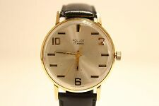 "VINTAGE USSR RUSSIA GOLD PLATED MEN'S WATCH""POLJOT""17J./RARE BEAUTIFUL DIAL"
