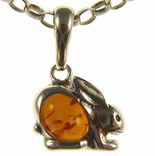 GIFT BOXED BALTIC AMBER STERLING SILVER 925 RABBIT PENDANT JEWELLERY JEWELRY