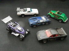 Vintage Lot of (5) Hotwheels Toy Cars, Fiat, Countach Lamborghini, Elcamino,