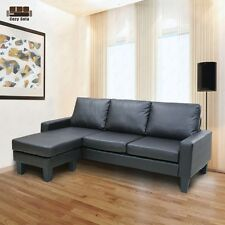 Reversible Corner Sofa Sectional Chaise Couch Leather Loveseat Lounge Suite