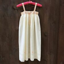 Handmade Homemade Off White Eyelet Night Gown  Hand Embroidered Girls Age 7-9