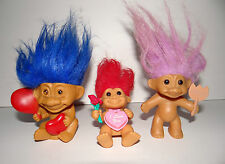 Vintage Russ Troll 3 Figures Valentines Day Theme Red Blue Pink 4""