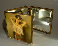 Antique Victorian Celluloid Tri-fold Wall Hanging Vanity Mirror