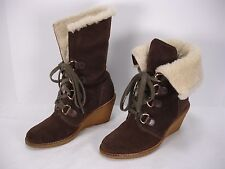 COLE HAAN NIKE AIR SUEDE WATERPROOF WEDGES LACE UP SHEARLING BOOTS WOMEN'S 6 B