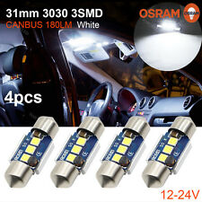 4x 31MM Festoon 3030 3SMD OSRAM Chips C5W Dome Canbus Car LED Light Bulb White