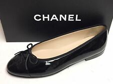 Chanel Classic CC Logo Patent Black Leather Ballerina Ballet Flats Shoes 40