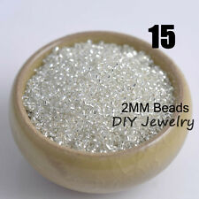 1000pcs 2mm Silver Tone Round Silver Lined Czech Glass Seed Beads Jewelry Making