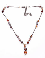 GRACEFULLY GLAMOROUS DARK METAL AND AMBER TONED GLASS BEADS DROP NECKLACE(ZX38)