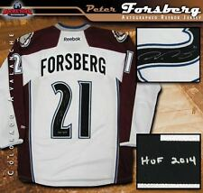 PETER FORSBERG Signed & Inscribed Colorado Avalanche White Reebok Jersey