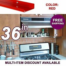 36in x 3.5in ultraLEDGE Red Metal Floating Over-the-Range Shelf / Spice Rack