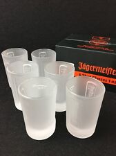 6 New Boxed Jagermeister Shot Glasses 1 Ounce Frosted Glass