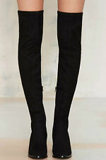 Nasty Gal Running Wild Over-the-Knee Boots size 8 black suede new in box