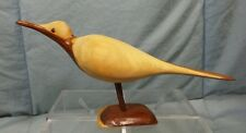 """Carved Wood Wooden Woodcarving Sandpiper Seabird  Bird 9"""" long 4.5"""" tall"""