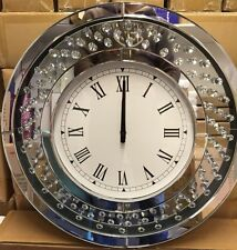 Floating Crystal Mirror Glass Round Wall Clock Diamante Style Jewel 50cmx50cm