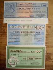 3 diff. Italy assegni cities emergency paper money 1976-78 Uncirculated