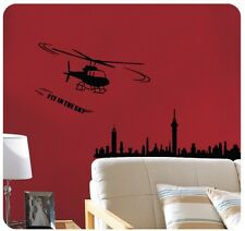 Helicopter Black Fly in the sky WALL STICKERS REMOVABLE HOME DECAL Vinyl DECOR