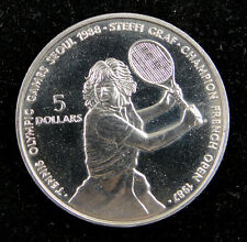 Niue 5 Dollars Coin 1987 UNC, 24th Olympiad Tennis Games, Seoul 1988