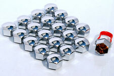 20 x 17mm Hex push on Car wheel nut caps bolt covers Chrome